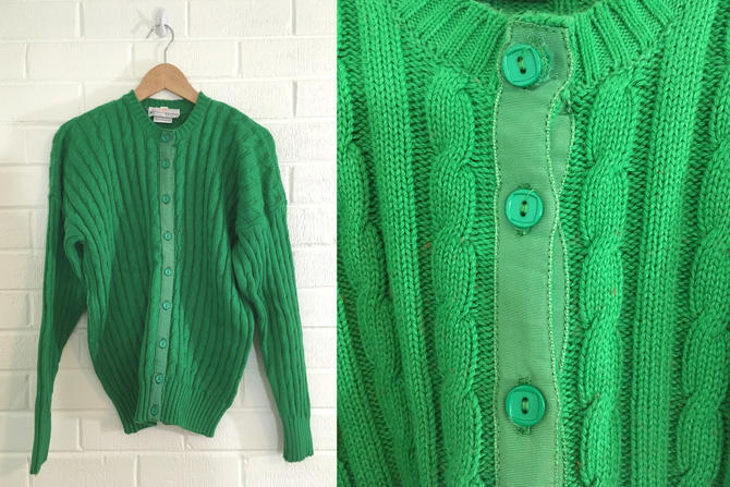 Vintage Green Cardigan Sweater Emerald Made in Soctland Kelly Long Sleeved Cable Knit Women's Large L XL by CheckEngineVintage