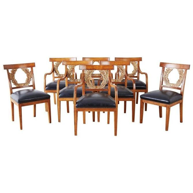 Set of Eight Neoclassical Laurel Wreath Dining Chairs by ErinLaneEstate
