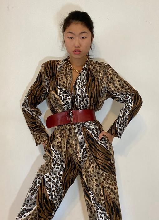 90s jumpsuit / vintage cheetah mixed animal print silky rayon jumpsuit / plunging wrap front belted jumpsuit | S M by RecapVintageStudio