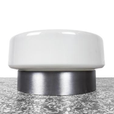 Lightolier Flush Mount Ceiling Pendant Light - Brushed Stainless and Glass by JefferyStuart