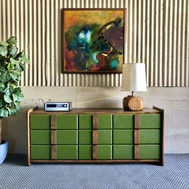 Funky Bright Green & Oak Vintage Dresser
