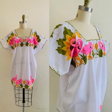 vintage hand painted flamingo top mini dress by HarlowsVintage