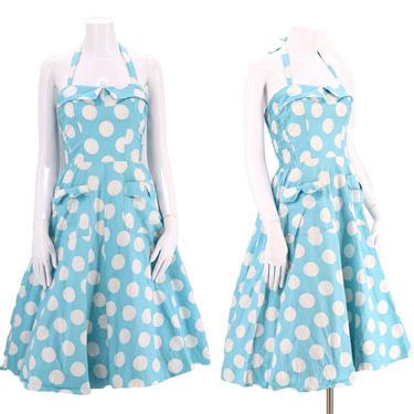 50s cotton full skirt halter dress  / vintage 1950s MYLADY robins egg blue polka dot pin up mid century sundress M by ritualvintage
