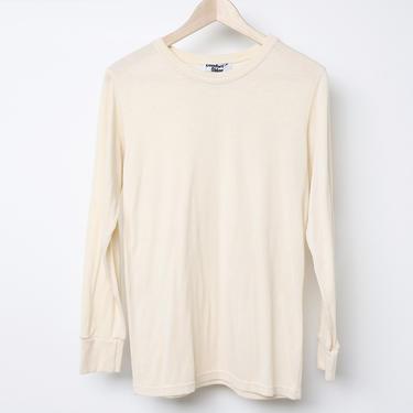 vintage duofold style OATMEAL Cream THERMAL 1960s grunge long sleeve nirvana shirt -- size medium by CairoVintage