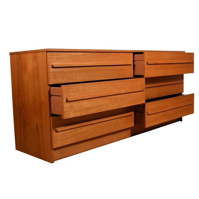Long Danish Modern Teak 9-Drawer Dresser