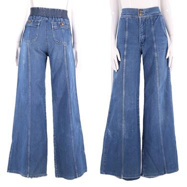 70s denim high waisted bell bottoms jeans sz 28 / vintage 1970s PENTIMENTO bells flares pants elastic back 6-8 by ritualvintage