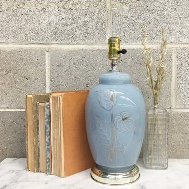 Vintage Table Lamp Retro 1980s Contemporary Style + Baby Blue + Glass + Peace Lily + Mood Lighting + Home and Table Decor by RetrospectVintage215