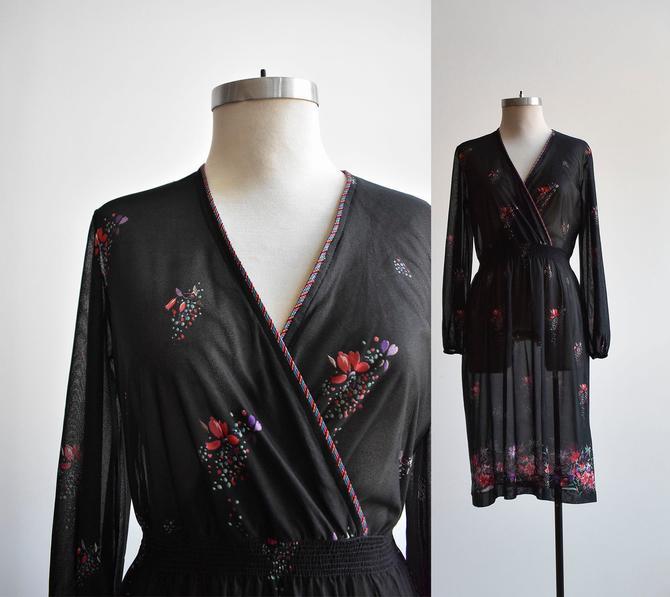 1970s Black Floral Wrap Dress by milkandice