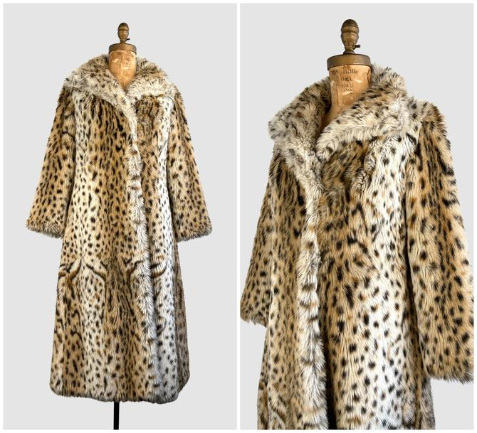 HELLO KITTY 70s Vintage St. Moritz Faux Leopard Fur Coat | 1970s Plush Animal Print with Satin Lining Overcoat | 60s Outerwear | Size Medium by lovestreetsf