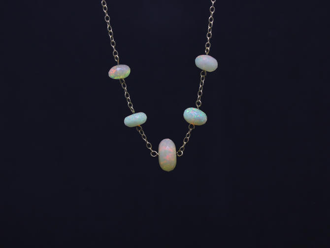 Opal Station Necklace by EmilyMarquisDesigns