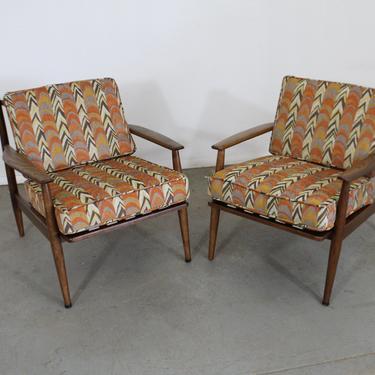 Mid-Century Modern Open Arm Walnut Vikko Lounge Chairs by AnnexMarketplace