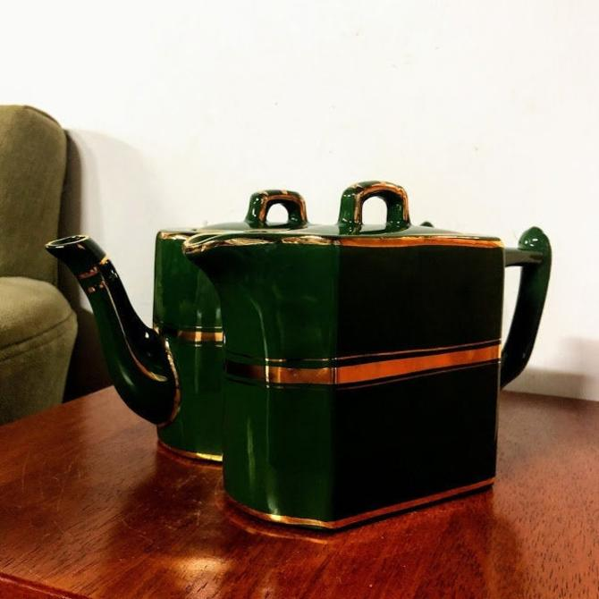 Vintage Wade's Green and Gold Twin Tea Set 710 by OverTheYearsFinds