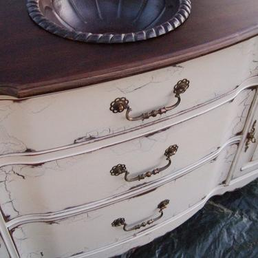 Antiqued French Country Bathroom Vanity Cabinet in French Cream with Dark Walnut top by Artisan8
