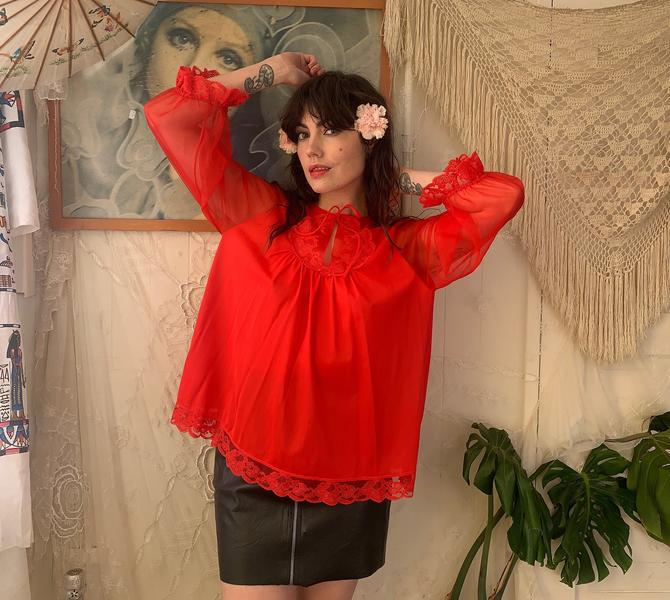 70's BABYDOLL SMOCK TOP - bright red - lace - keyhole - small/medium by GlamItToHell