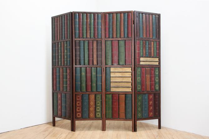 Trompe l'Oeil Bookshelves Folding Screen Room Divider 3D Bas Relief Library by 330ModernAntique