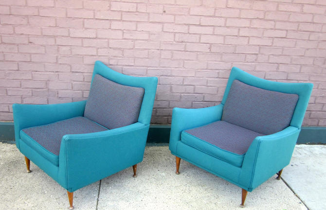 Vintage 1950s Teal and Purple Atomic Style Angular Mid Century Modern Flexsteel Lounge Chairs or Club Chairs by LazyDogAntiqueStore