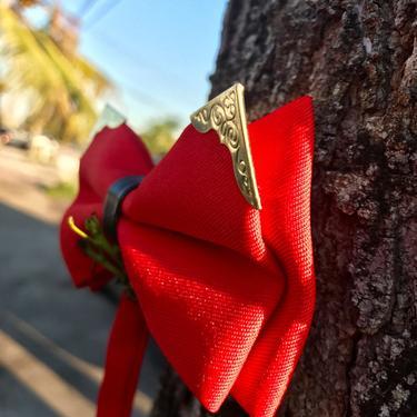 Men's Red Retro Bow Tie Men's gift Mens bowtie Wedding Bow ties for MenGroomsman gift groom wedding gift party PromBoyfriend gift Him by LookGreatWL