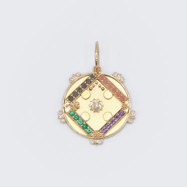 "Large Sun Medallion With Florets - ""Love"" - 20 Stones"