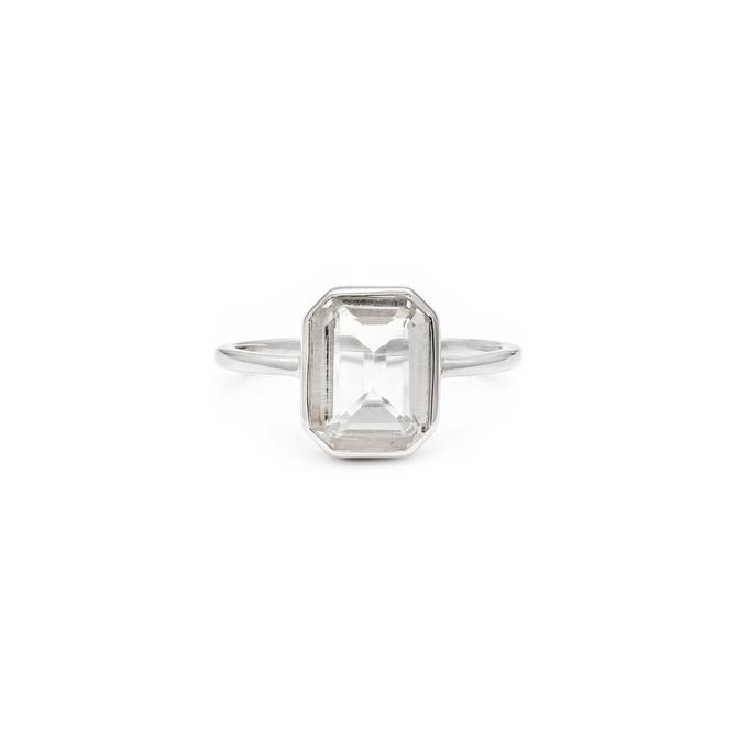 White Topaz Emerald Cut Ring - Sterling Silver