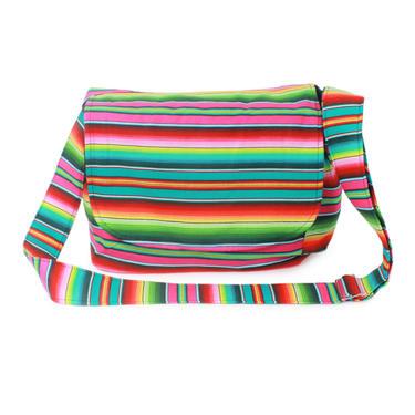 Serape Messenger Bag - Fuchsia Mexican Striped Messenger Bag by VintageGaleria