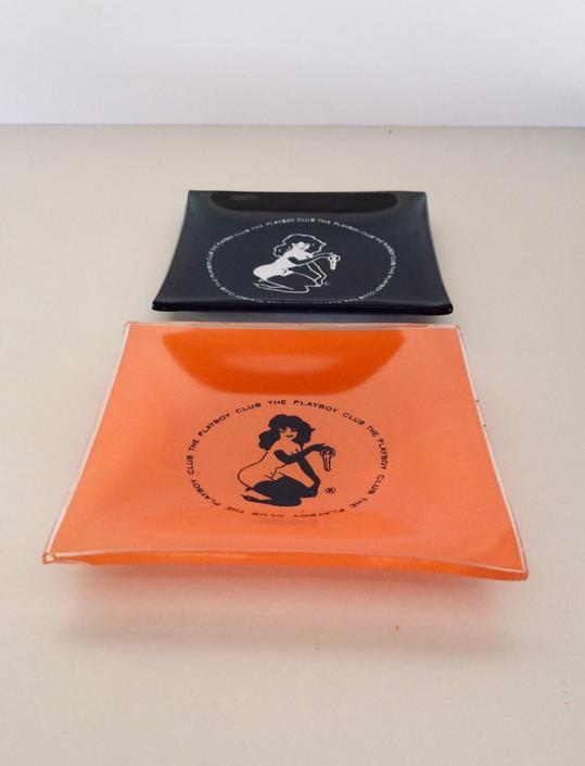 Vintage Playboy Ashtrays (2) in Black and Orange - 60s Retro Cool! by nauhaus