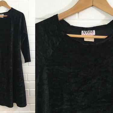 Vintage Black Crushed Velvet Dress Avon Stevie Nicks Style 1980s 80s Long Sleeve Boho Festival Party Cocktail Large XL Goth Vamp A-Line by CheckEngineVintage