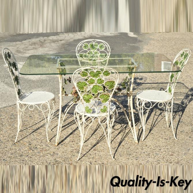 French Art Nouveau Green Flower Maple Leaf Garden Patio Dining Set - 5 Piece Set
