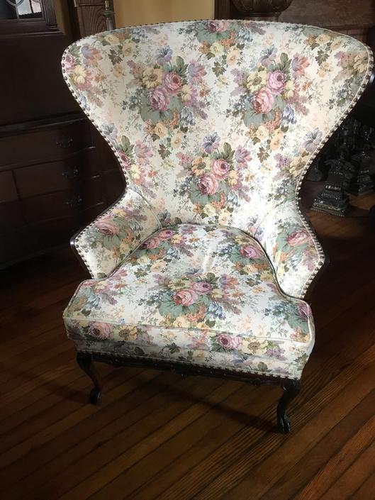 Vintage Wing Back Floral Chair Curved High Back by RavenPearVintage