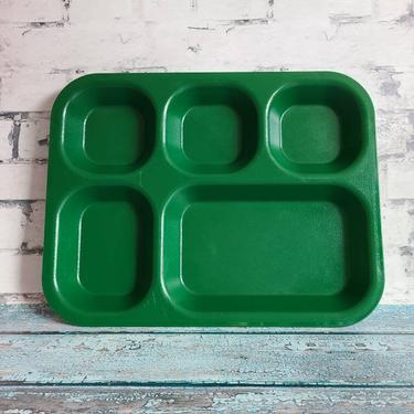 Vintage Cambro Forest Green Tray, 5 Compartments, School Tray, Beat Organizer, Snack Organization, Plates For Toddlers, Camping Trays by BellsAndWhistlesEtc