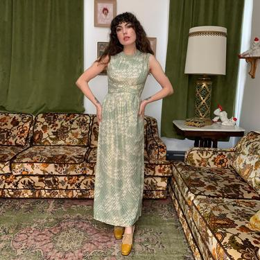 70's MAXI DRESS - green gold white - sleeveless- small by GlamItToHell