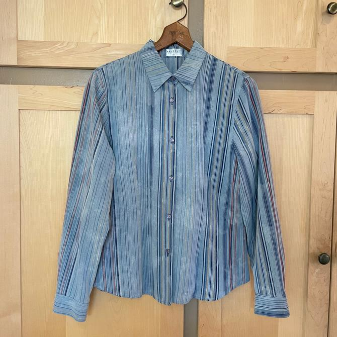 Vintage Striped Denim Shirt 90s Button Down Shirt 1990s Clothing by LoveItShop