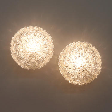 Large Mid-Century Pressed Glass Ceiling or Wall Sconce