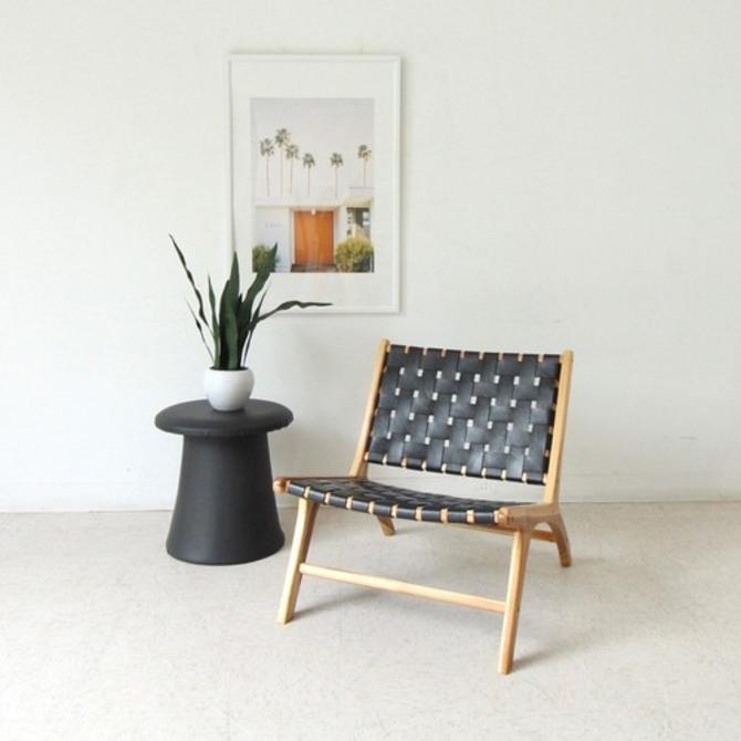 Zalman Black Strap Leather Low Profile Lounge Chair
