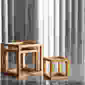 Set of 3 Nesting Wood Cube Tables
