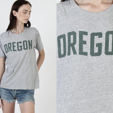 Oregon College T Shirt / Champion Blue Bar Heather Grey Tee / 70s Mens Womens Track T Shirt / Soft Cotton Shirt Size M by americanarchive