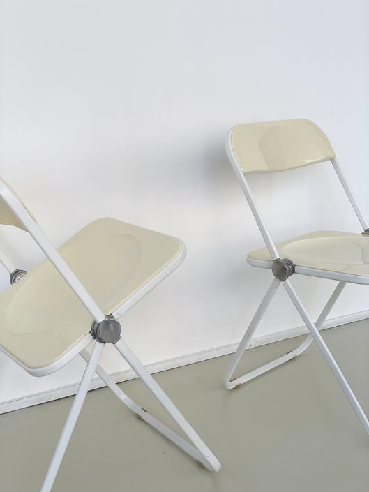 Cream 1970s Italian Plia Chairs by Giancarlo Piretti for Castelli