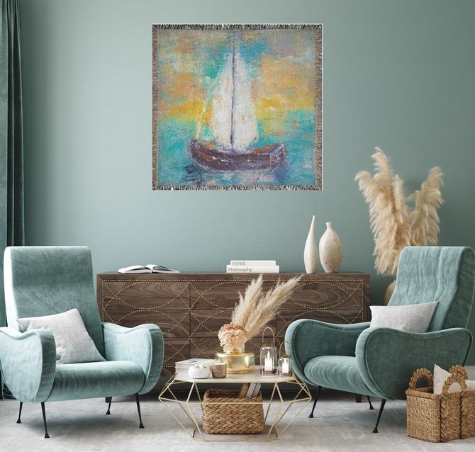 Sail Boat Nautical Woven Blanket ~ Sail Boat Print Throw Blanket ~ Sail Boat Wall Tapestry ~ Sail Boat Wall Art ~ Sail Boat Print Art by DareToBeVintage