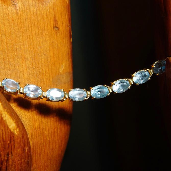 """Vintage 14K Gold Aquamarine Link Bracelet, 21 Oval-Cut Gemstones, 585 Yellow Gold & Light Blue Gemstone Tennis Bracelet, 8 1/2"""" L by shopGoodsVintage"""