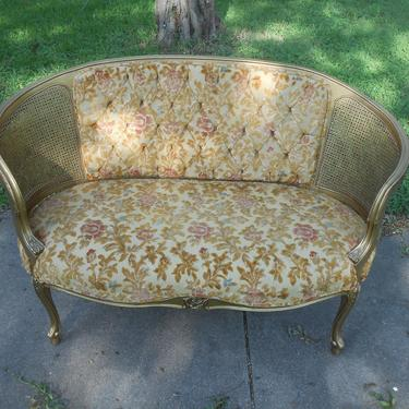 Vintage Loveseat Settee Giltwood Cane French Provincial Louis XVI Style Velvet Upholstery Original Boudoir Seating Gold Tufted Couch Sofa by kissmyattvintage