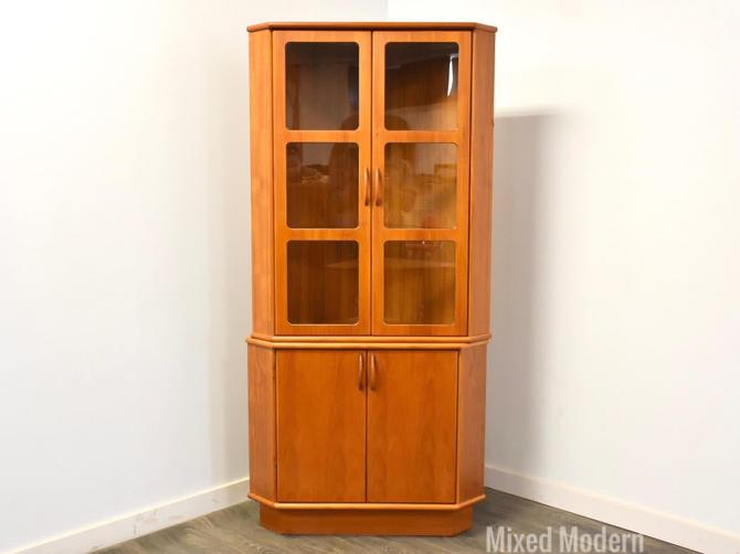 Danish Teak Corner Bookcase Cabinet by mixedmodern1