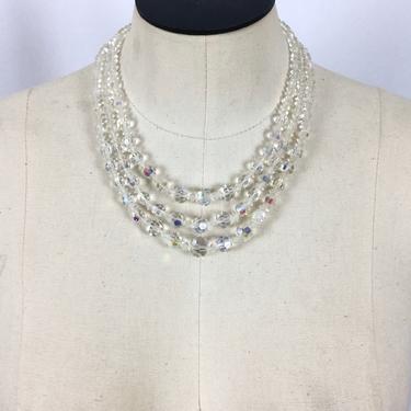 Vintage 50s Crystal AB choker | Vintage clear aurora borealis crystal three strand choker | 1950s crystal multi strand necklace by BeeandMason