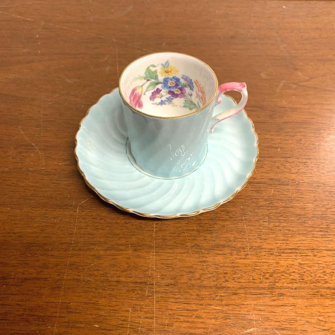 Vintage Aynsley China Teacup and Saucer Demitasse Turquoise Swirl Pink Handle Flowers by OverTheYearsFinds