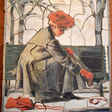 RARE! Gorgeous 1930s Jig Saw Picture Puzzle - Girl Putting on Skates - 66 Pieces - PUZZLE LOVERS! | Free Shipping by Bixley