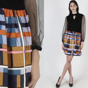 1970s Geometric Checker Skirt Dress / Vintage 70s Black Sheer Sleeves / Minimalist Disco Party Shirt Mini / Colorful Futuristic Dress by americanarchive