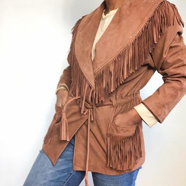 Vintage 1980s 1990s 80s LNR Suede Leather Fringe Coat Jacket Boho Southwestern Tie Drawstring Waist Shawl Collar Chocolate Brown Medium by KeepersVintage