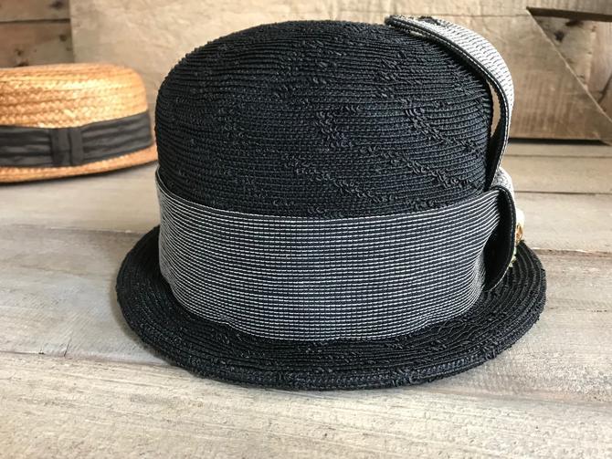 e19716f5 60s Black Straw Derby Hat, Chas A Stevens, Chicago, Bee Brooch Pin ...