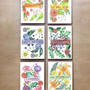 Floral Occasions Greeting Card Variety Set + Envelopes