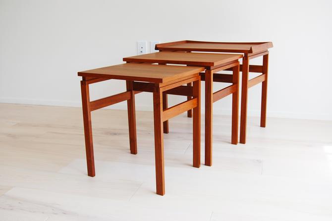 Danish Modern Moreddi Teak Nesting Tables Made in Denmark by MidCentury55