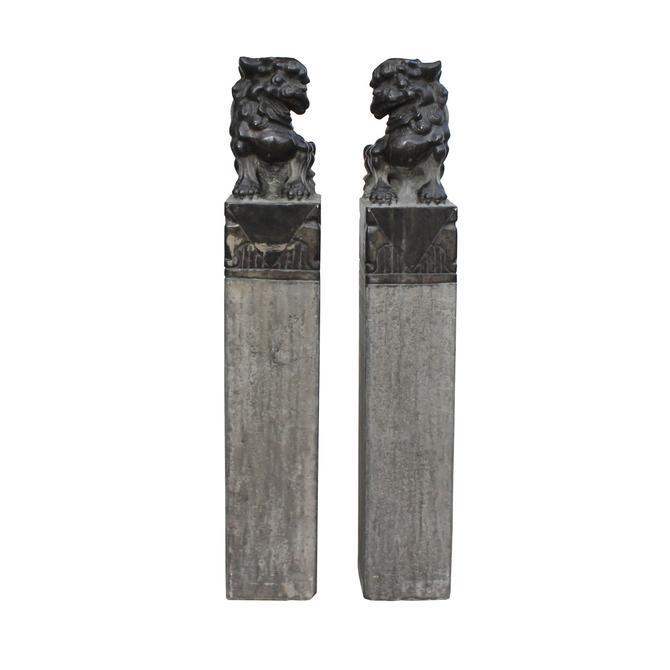 Chinese Pair Black Gray Stone Fengshui Foo Dogs Tall Slim Pole Statues cs5364E by GoldenLotusAntiques
