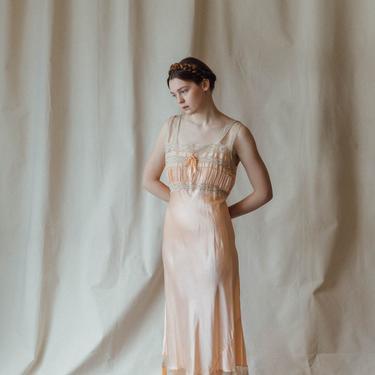Antique c. 1940s baby pink silk and lace slip gown Deco OOAK antique lingerie by DevoreVintage